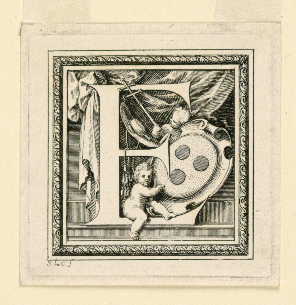 Letter E with a shield with three beads, an archbishop's hat and cross.