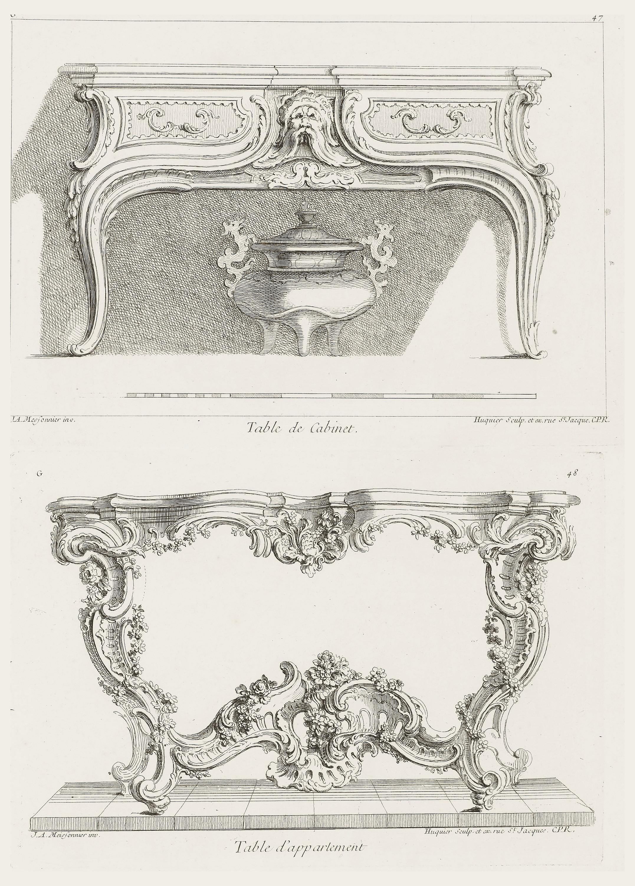 Print, Table d\'appartement, 7th Plate [Design for a Table], pl. 48 ...