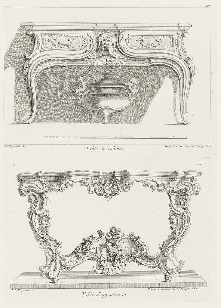 Elaborately decorated table with cartouches, garlands of flowers, shells, and leaves intertwining the cabriole legs.