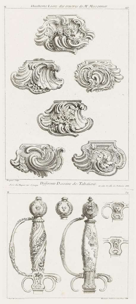 Designs for six shell-shaped snuffboxes, each with different arrangements of flowers and leaves.
