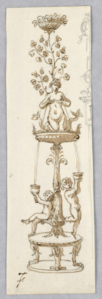 Vertical rectangle with candelabra topped by a women holding her breasts from which water flows.