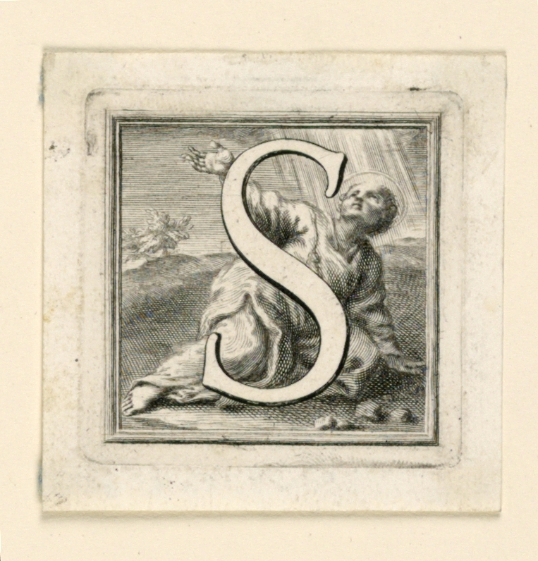 A: Letter S before St. Stephen suffering his martyrdom.   B: Letter T before the kneeling St. Thomas holding a carpenter's rule. C: Letter V before St. Vincent kneeling in prison.  He holds a palm; fetters and fork lie before him.