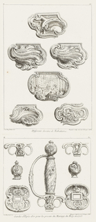 Six rococo designs for snuffboxes. Top center: several figures standing in front of a balustrade, a figure (upper left) sitting next to a fountain; center cartouche: female figure in front of alter showing Solomonic columns, putti abound, central female figure holding reigns of a rearing horse.