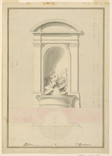 A niche with a segmented pediment. Water flows from the mouth of a dolphin and into a basin. Measured plan below.