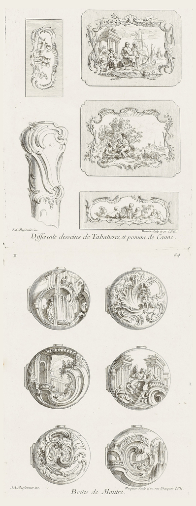 Four designs for snuff boxes. Two large scenic designs, one with figures and sailing ship enclosed in a cartouche, the other showing three figures hauling lumber (?) with church and low buildings in background. Two small cartouches with frolicking putti. The cane handle is decorated with swirling acanthus leaves and flowers.