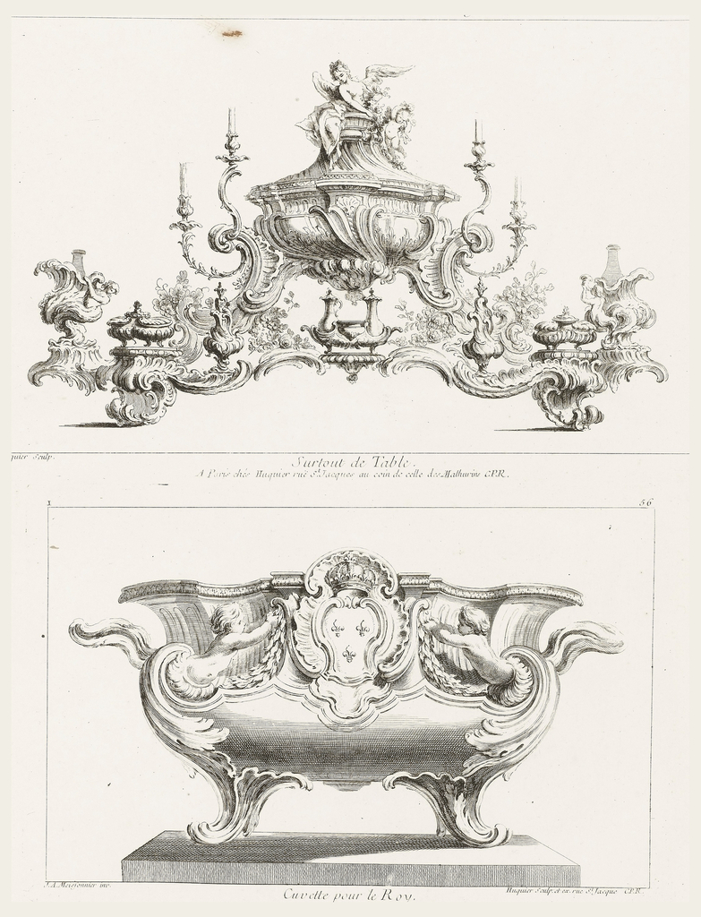Only state. Table centerpiece in full-blown rococo style consisting of a central tureen with a winged angel and putti on top, two pairs of candle branches flanking the tureen, assorted ewers, covered boxes, and shell-shaped bottle holders, flowers and leaves interspersed throughout the arrangement, which is on a stand.