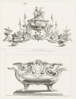 Basin with central cartouche, surrounded by a shell, showing three fleurs-de-lis and crown, the arms of the king. The cartouche is flanked by putti reaching towards a cascade of laurel leaves.