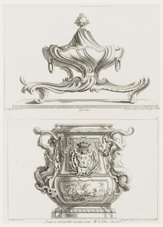 Covered tureen (and stand) with a swirling shape, foliate knob on cover, stand,resting on C-scrolls, has same flowing, fluid lines as the tureen.
