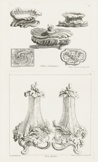 Three projects for salt cellars and two snuffboxes. Two open salt cellars:  on left with swirling base, on right with a scalloped base. Center covered salt cellar on legs. Two snuff boxes decorated with acanthus leaves, flowers and branches.