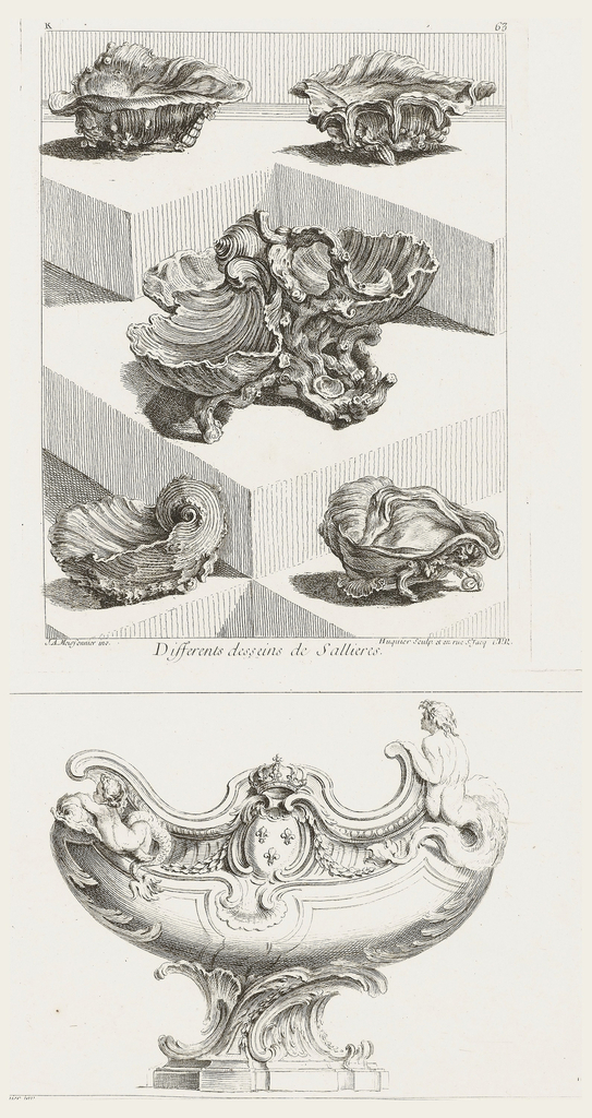 Print, Differents Desseins de Sallieres [Various Designs for Salt Dishes], pl. 63 in Oeuvre de Juste-Aurele Meissonnier
