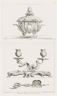 Splayed candleholder, spiraling arms decorated with small flowers on wide base with central shell motif. Snuffer is scissor-shaped with bracket element toward tip to snuff wick.