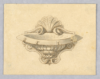 Horizontal rectangle. Design for a shell-shaped wall-mounted water basin, supported by the bust of a cupid with wings framing the face. At top, shell motif.