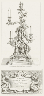 Candelabra with five arms decorated with acanthus leaves, a putto leaning out from the stem, a dragon below, set on a base with a central cartouche.