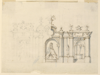 A sketch left in pencil on the left, and filled in with ink and wash on the right. A wall with niches and colonnades contains a fountain with a figure of a man upon a rock in the center, a figure on a console standing at the projecting wall, and a niche with a sculpture upon a pedestal with steps below.