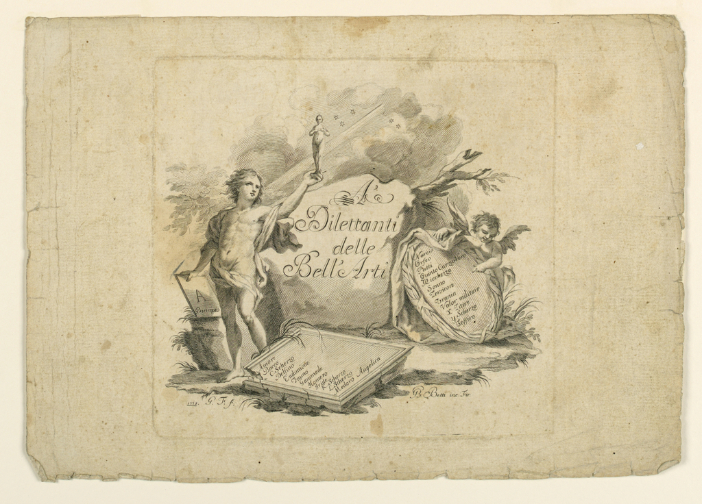 """Berlin 5302 (later ed.). A genius standing beside the boulder with the dedication, raises a small figure of a woman, and holds a tablet with """"A / Principio,"""" representing the Creation as does the background. The explanations of the following representations are written on tablets."""