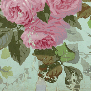 On pale green ground, pastel flowers, including roses, in pinks, pale yellows.