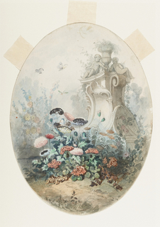 Ovoidal design for a candy box cover.  A high pedestal with sculptural figures of children seated around a vase, rises in a garden.