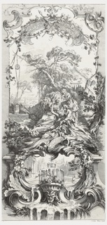 One of five panel designs for a folding screen. The other designs in the series include Rocaille (Rococo Motifs) etched by Charles Nicolas Cochin ; and Hommage Champêtre (Pastorale); Léda; and Triomphe de Priape (Triumph of Priapus) all etched by Claude Duflos the Younger. This panel design depicts Pomona, a nymph who adored her fruit trees and gardens, two young companions, a male and a female, and a rustic building in the background. Below, a cartouche decorated with fruits and leaves, the interior decorated with a circular courtyard, a fountain and grotesque mask.