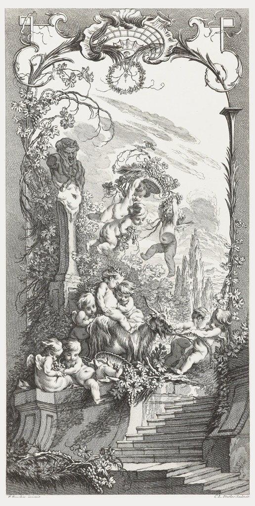One of a set of five panels for a fold-up screen.  The other designs in the series include Rocaille (Rococo Motifs); Hommage Champêtre (Pastorale); and Léda, all etched by Claude Duflos; and Triomphe de Pomone (Triumph of Pomona) etched by Charles Nicolas Cochin the Younger. Shell motif at top. Three putti grasping at berries in the upper portion of the design, to the right of a herm in the personification of Priapus, protector of orchards and gardens, which is at left. Cypress trees at right. Two putti pulling a goat on top of stairs and other putti both helping with the goat and holding berries. Panel framed with leaves, branches and berries.