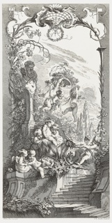 One of a set of five panels for a fold-up screen.  The other designs in the series include Rocaille (Rock Garden); Hommage Champêtre (Pastorale); and Léda (Leda and the Swan), all etched by Claude Duflos; and Triomphe de Pomone (Triumph of Pomona) etched by Charles Nicolas Cochin the Younger. Shell motif at top. Three putti grasping at berries in the upper portion of the design, to the right of a herm in the personification of Priapus, protector of orchards and gardens, which is at left. Cypress trees at right. Two putti pulling a goat on top of stairs and other putti both helping with the goat and holding berries. Panel framed with leaves, branches and berries.