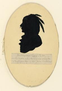 Bust of an Indian, facing left.
