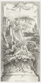 Vertical panel design with a pagoda motif, top center, an architectural ruin showing the capital of a column, an urn, a broken column, interspersed with garlands and leaves. In the central scene a young man is about to lay a wreath of flowers upon the head of a young woman who is reclining amongst bushes, leaves, and branches. Two putti appear below.