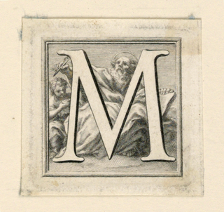A: Letter M before St. Matthew holding his pen over the inkstand which is held by the angel.    B: Letter N before St. Nicholas, who is seated and holds a book upon which the three balls lie.