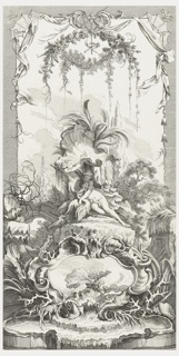 One of a set of five panels for a folding screen. Vertical panel design with central scene depicting Leda and the swan, the personification of the god, Zeus. She is flanked by two child figures. The composition includes shells, leafy bushes, trees, and below, a large cartouche with a grotesque mask (top center) and large leaves (interior).  A shell cartouche below depicts a pool of water.