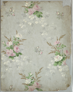 Delicate rose bouquets, with pink and white flowers and green stem and leaves. Gold highlights in bouquet. Vining foliage is printed in grisaille on a light gray background. Printed on a white satin ground. At the bottom center, is an embossed stamp of Ericson and Weiss.