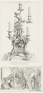 Title page for the eleventh book of the work of Meissonnier. A five-armed candelabra with a putto leaning out from the central branch. The branches are heavily decorated with acanthus leaves. An eagle is perched below on the base.