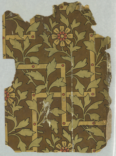 Aesthetic-style paper with leaves and trellis.