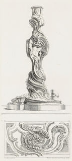 Candlestick on platform; twisted from bottom up with vegetal forms; a crown-like object sits at center.