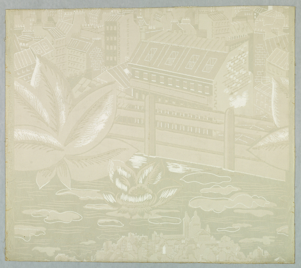 Paper is embossed to represent cloth and showing a printed design of a water-lily and plant on water in the foreground with a view of Paris in the background. Printed in gray on white ground.