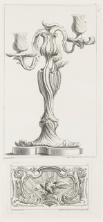 Candlestick on platform; body formed by twisting stem and curled edges, ending in two floral sockets with branches made of curled stems and leaves.