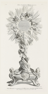 Candlestick on footed pedestal; curved feet and central medallion depicting a lamb. Flanking pedestal are two putti heads gazing upward. Body of candlestick made of twisted grapevines and bunches of grapes, leaves, and wheat stalks; ends in a large sun-like mirror surrounded by rays and nine putti heads.