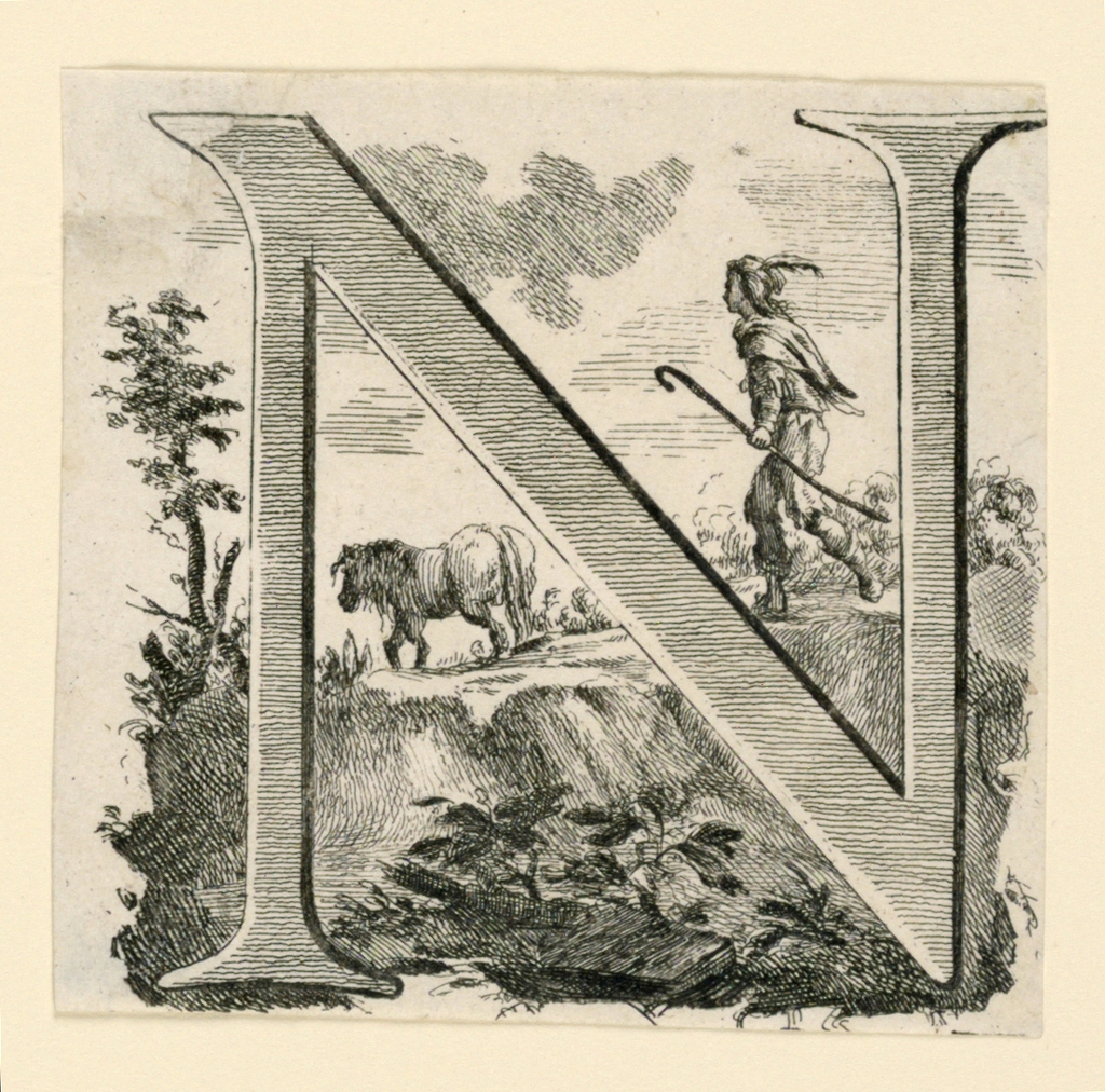 N shown against a road on elevated terrain; a shepherd boy follows a horse.
