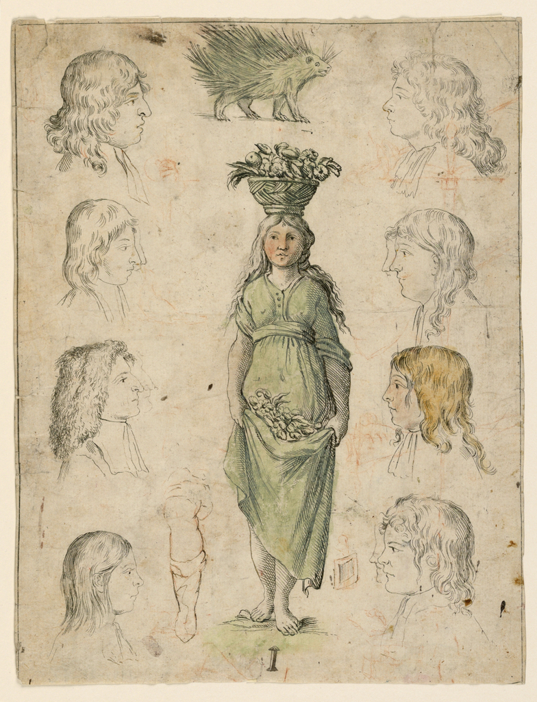 """Central image of a girl carrying a flower basket that forms the letter """"I"""" with additional drawings of eight profiles of men and boys; a hedgehog.  Reverse: an eye; a subdivided square; graphite."""