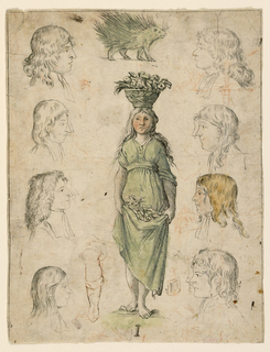 "Central image of a girl carrying a flower basket that forms the letter ""I"" with additional drawings of eight profiles of men and boys; a hedgehog.  Reverse: an eye; a subdivided square; graphite."