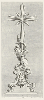 Design for a cross on footed platform; a seated robed woman holds a tablet to which she points. Above, the body of the cross is fluted and ornamented with four putti heads, clouds and vines, leading up to the cross with an X behind and a crown of thorns.