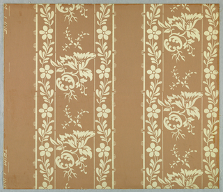Delicate floral stripe, printed in white, on dark brown ground.