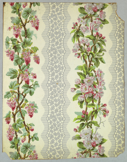 Floral stripe design. On white ground, vertical gray bandings with curving outlines on either side of vertical strips of entwined pink cherry blossoms and other flowers on leafy branches.