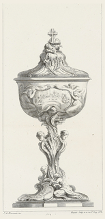 Container on platform with an escutcheon depicting Crucifixion; two putti put arms around stem of container; central body of stem made up of two putti heads surrounded by feathery foliage, leading up to the cup that depicts a scene of the last supper, framed in rococo style and flanked by two angels. Lid has wheat, grapevines and is topped with two putti heads gazing up at a cross.