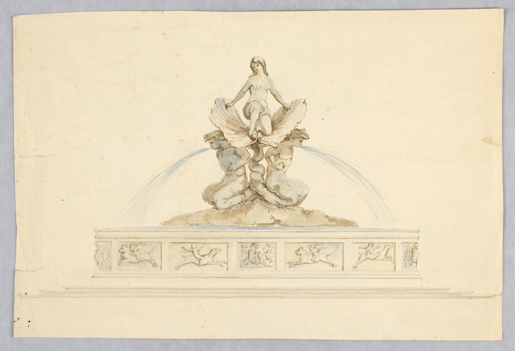 A nude female sits atop two seashells supported by mermen with intertwining tails, water flowing from their mouths. The basin decorated with a coat-of-arms and small panels with putti riding animals.