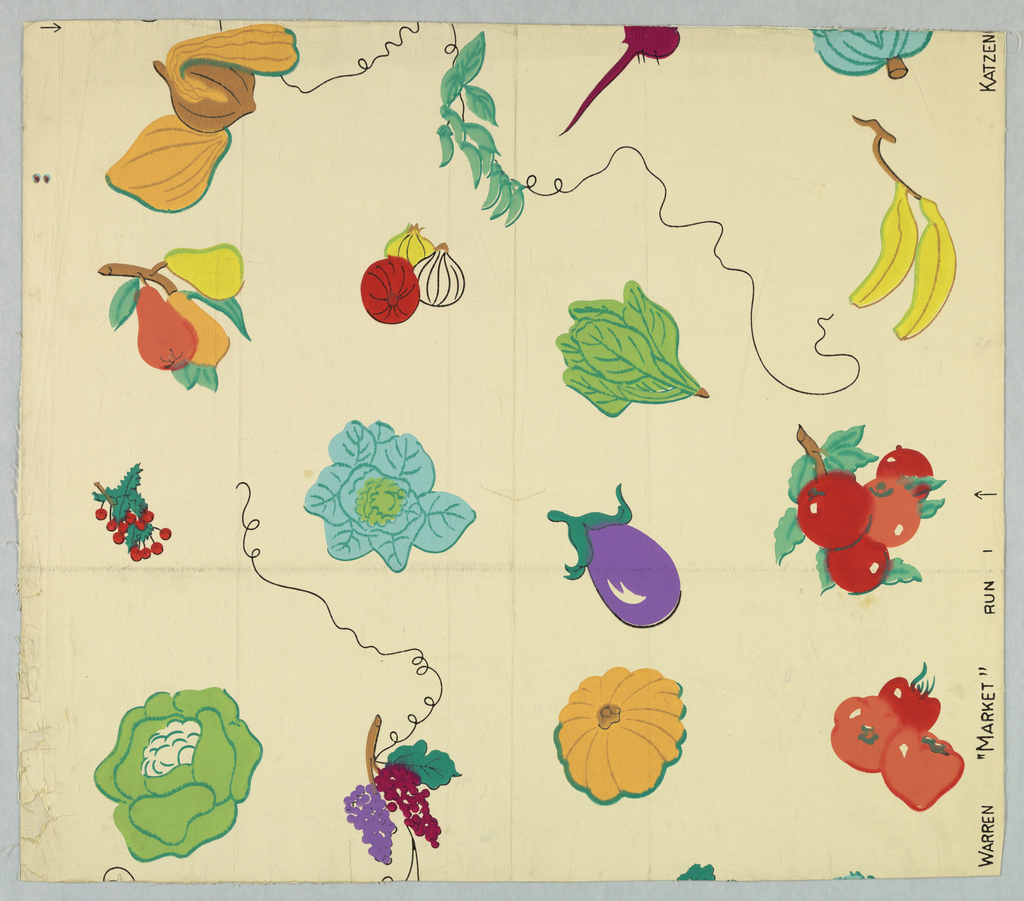 Brightly colored depictions of fruit and vegetables: eggplant, squash, banana, cherries, etc., printed on white ground.