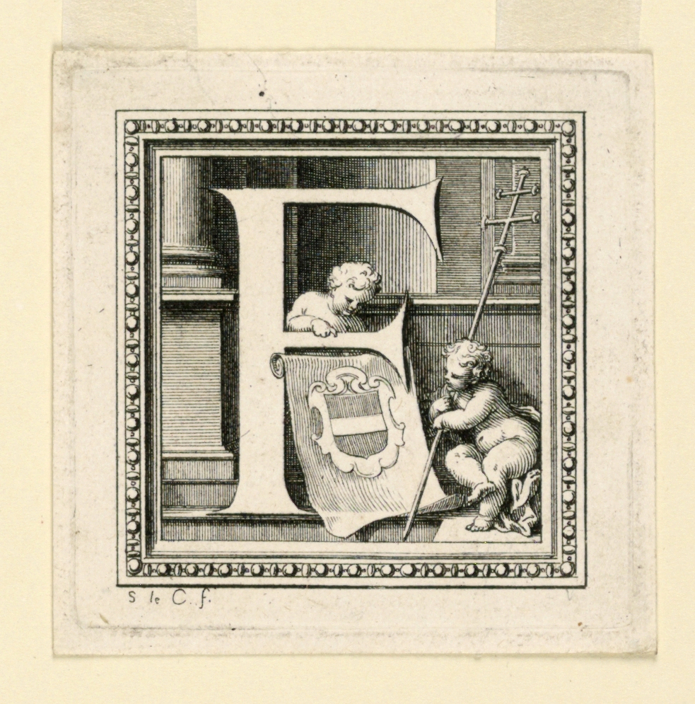 """A:  [Meaume 20 I]  Letter E with a shield with three beads, an archbishop's hat and cross.  Signed as -30B: """"S le C. f."""" B:  [Meaume 21 I or 22 I]  Letter F with a coat of arms, a fess, and two putti, one of whom carries an archbishop's cross.  Signed as A."""