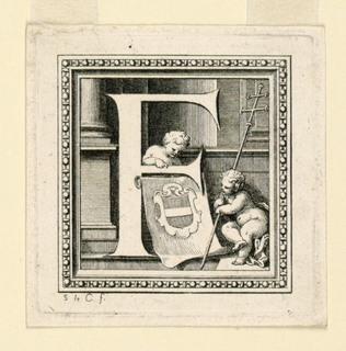 Letter F with a coat of arms, a fess, and two putti, one of whom carries an archbishop's cross.