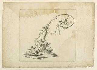 """Scherzo."" Five putti busy decorating the letter, which is formed by a scroll and flourish, with a garland."