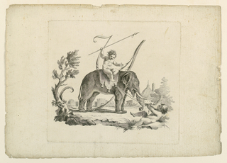 """Scherzo."" A child tries to pull an elephant upon whom a girl sits. The letter, formed by scrolls, is in the rear."