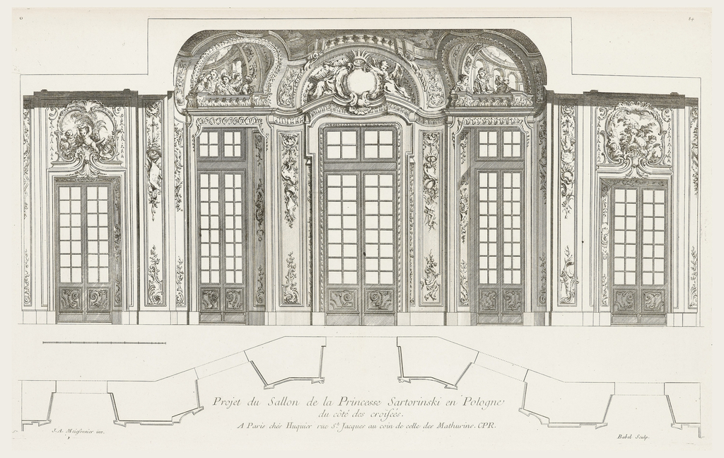 Symmetrical view of interior decoration of salon with five double windows, each with ornamented overhanging. From left: three putti in rocaille frame with central putto's arms raised holding crown, against background of wheat; second from left: group of ladies sitting in a trompe l'oeil balcony as though at the theater; central overhanging: two classical female figures flank empty crowned cartouche; right of center: three formally dressed ladies in trompe l'oeil balcony; far right: three putti with large amphora.