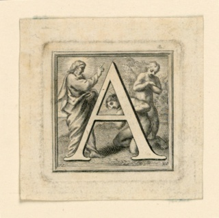 "A: Letter ""A"" standing before God the Father who is talking to Adaom, behind whom Eve stands.    B: Letter ""B"" standing before St. Bartholomew, who kneels, carrying knife and skin.  Framed by a moulding, as are all the letters up to -26.  Signed left bottom corner: ""P. I.""; and right bottom corner: ""F.S."""